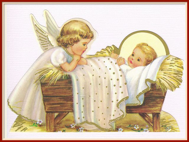 little angel and the baby Jesus...