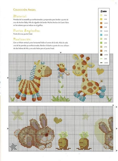 Una Locura de ideas !!! de punto de cruz: Canastilla para bebé en de punto de cruz de conejitos y jirafas.