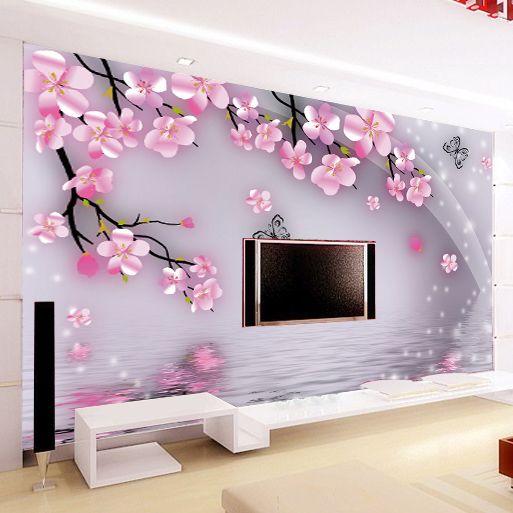 Lớn bức tranh tường phông nền hoa lãng mạn hình nền cho phòng khách tv nền wall paper hình nền hiện đại