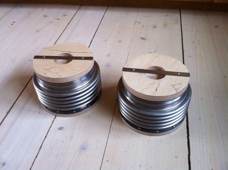 Titan damper containers, pipe storage jar, storage box,  Upcycled design. Nanowo Design