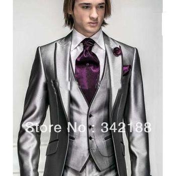 Korea Satin Bright Silver With Black Brim Man Groom Tuxedos Wedding Suits Prom Formal Suit Jacket Pants Vest Tie Square