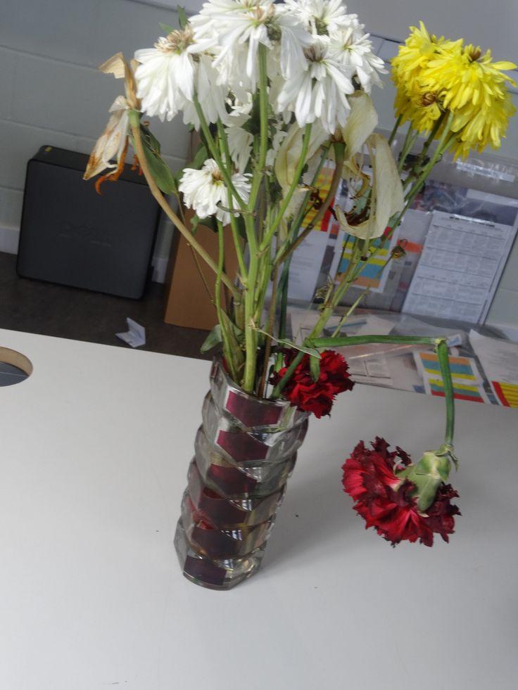 Dead flowers // full photo, vase // red, yellow & white