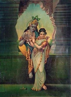 Radha plays Krishna's flute (c. 1920s?)