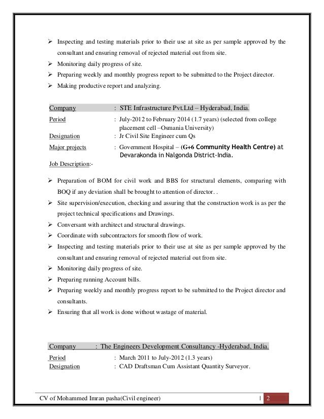 CV of Mohammed Imran Pasha ( Civil Site Engineer Cum QS)