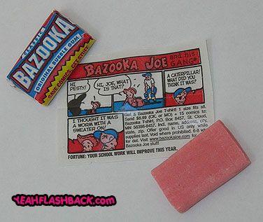 Bazooka kauwgom met een stripverhaaltje erbij.