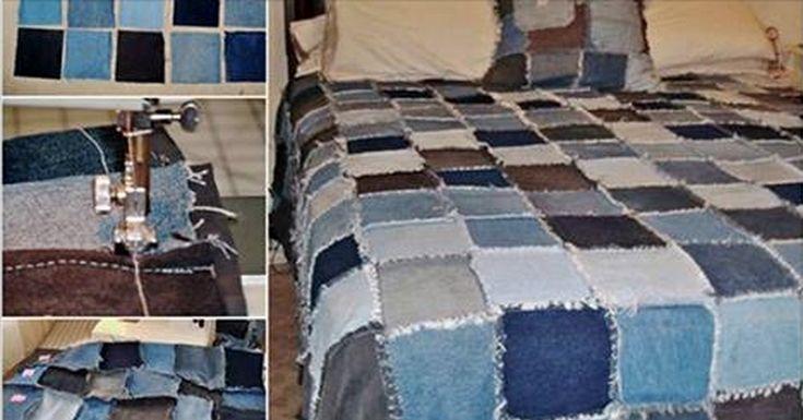 """Ak máte doma staré džínsy, ktoré nechcete vyhadzovať, môžete si z nich vyrobiť krásnu denim deku. Džínsovina je veľmi odolný materiál a preto je vhodný na podobné """"Urob si sám"""" projekty. Stačí si nastrihať rovnomerné štvorce..."""