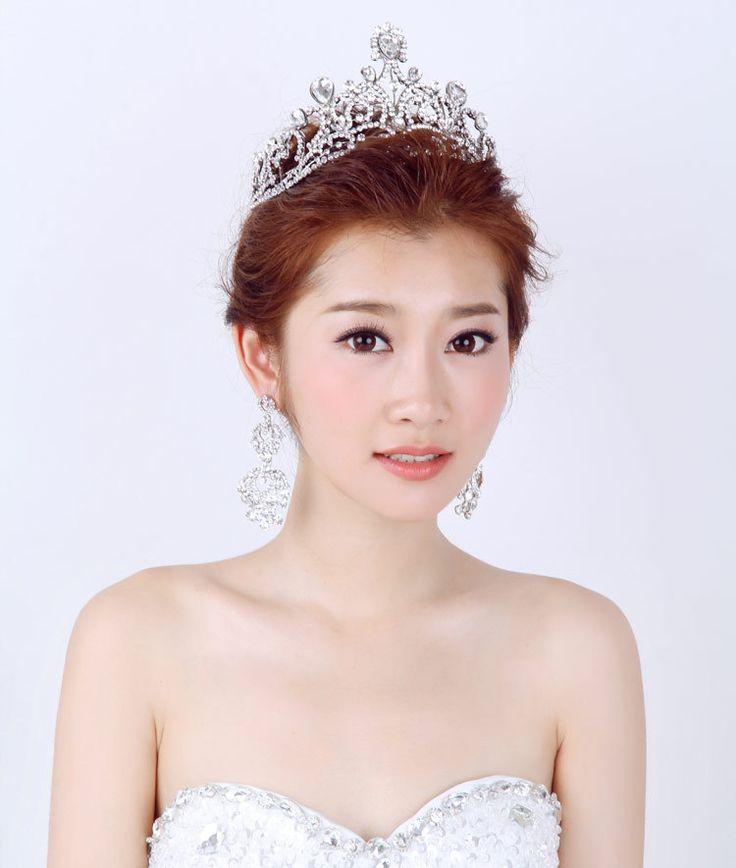 Сплав цинка сплав кристалл свадебный венец преувеличены волосы украшения украшенный свадебный волосы ювелирные изделия большой парад тиара
