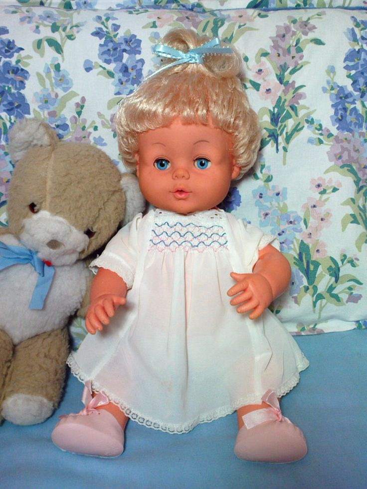 1970s Palitoy Tiny Tears Doll ~ Vintage Vinyl Baby Doll with original dress.