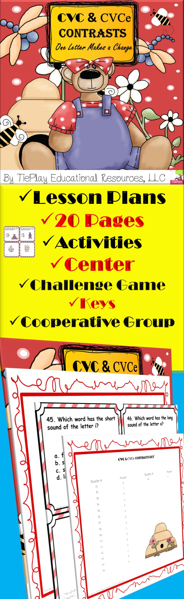 Price $5.00 Teach the correspondence between the vowels sounds. In CVC and CVCE Contrasts: One Letter Makes a Change, learners answer questions after participating in phonics and reading activities. CVC and CVCE Contrasts: One Letter Makes a Change can be used as a class game, in cooperative groups or as a center.