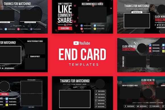 Youtube End Card Templates Card Templates Youtube Templates