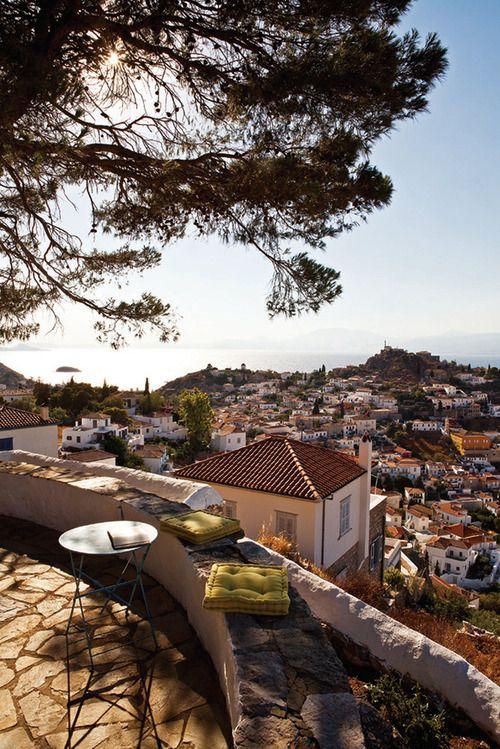 Terrace in Hydra, Greece | by © Michael Koronis | via evysinspirations