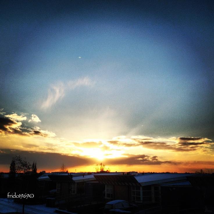 Sunrise in december in Amersfoort, NL