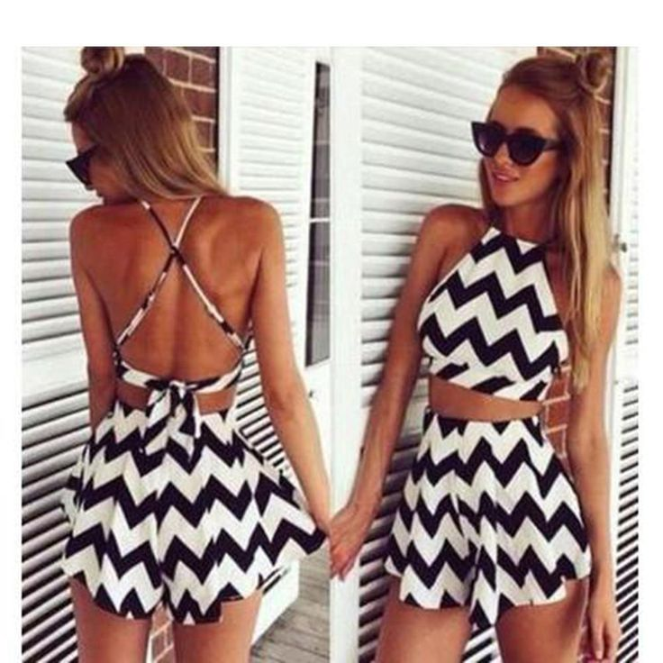 Charlee Cooper Black White Zig Zag Striped Strappy Top Shorts 2 Piece Set