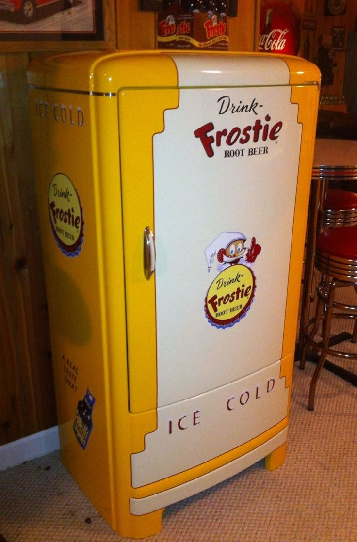 Antique vintage unfinished refrigerators - Frostie Rootbeer Vintage Refrigerator Now This Would Put A Smile On My Face Omg