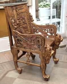 Pair of Egyptian Revival Giltwood Throne Chairs image 5