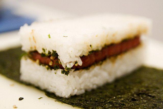 Spam Musubi: A Hawaiian mainstay using Spam, rice, nori, and furikake.   Robyn Lee