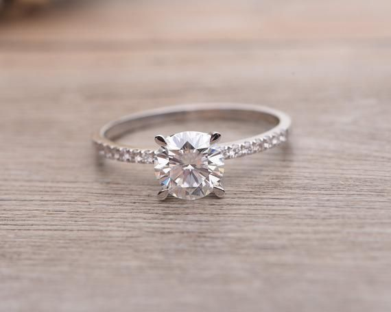 White Gold Engagement Ring, Moisannite Solitaire, Diamond Alternative, Raw Diamond Ring, Bridal Jewelry, Promise Ring, Wedding Ring, 1 Carat