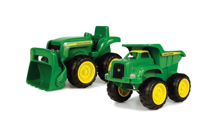 A fun John Deere dump truck and tractor play set with tipping action and working loader. Available at http://www.wickeduncle.co.uk/presents/boys/age-4/john-deere-dump-truck-and-tractor.