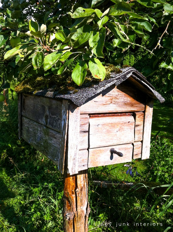 A sweet little rustic mailbox with a moss covered asphalt roof.   Just like a real shed buried under a tree. Adorable.