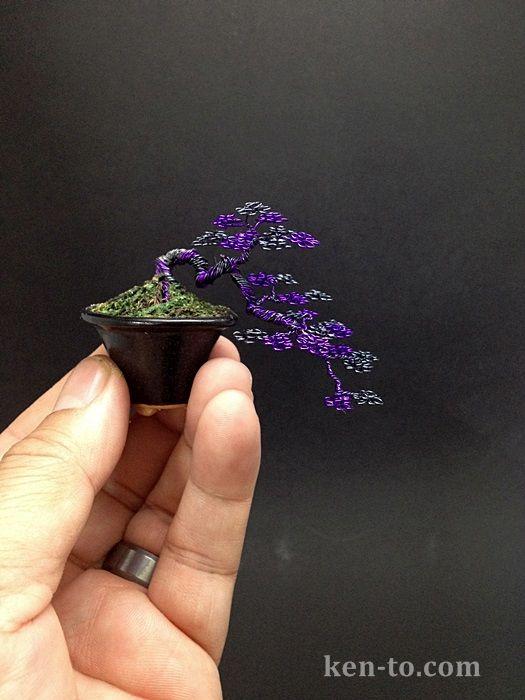 A purple hematite wire bonsai tree by Ken To by *KenToArt on deviantART