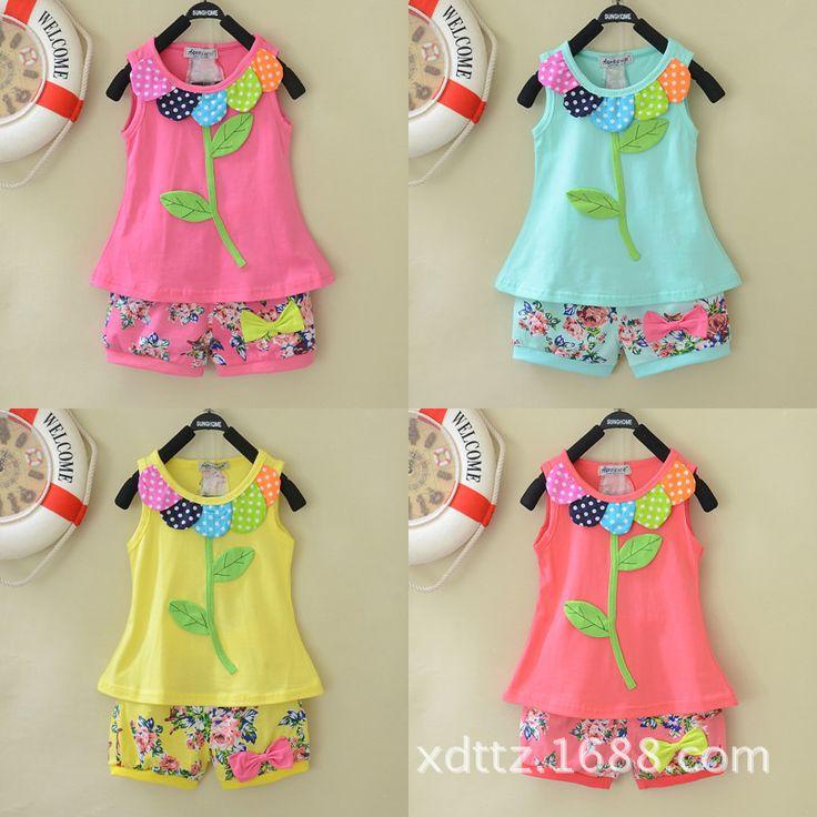 Wholesale children's clothing set new 2014 girl summer sets child baby Girls cartoon petal vest Floral shorts 2 Piece Sets $26.80