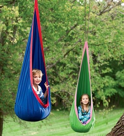 Hanging chair, pretty sure I can figure out how to make these with canvas. Outdoor/playhouse