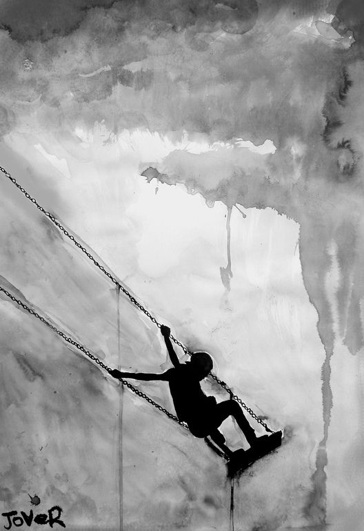 """Goes great with my favorite saying, """"A swing is a piece of freedom on a leash"""" <3 Saatchi Online Artist: Loui Jover; Pen and Ink, 2013, Drawing """"swing"""""""