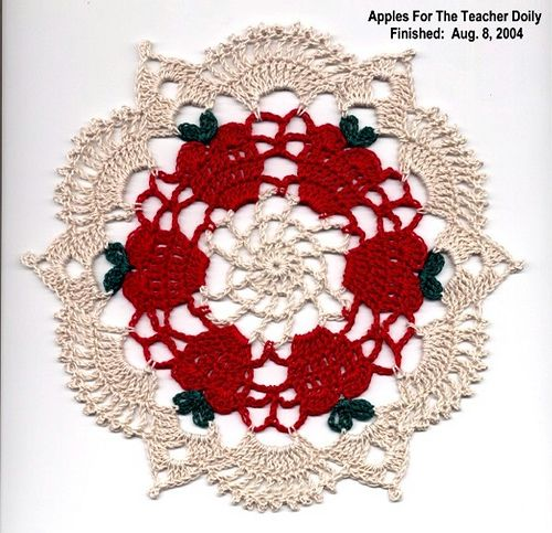"""Apples for the Teacher Doily"" - this is a really quick project.  I can do one in a couple of hours.Libraries, Teachers Doilies, Crochet Techniques, Knits Crochet, Doily Patterns, Doilies Pattern, Apples"