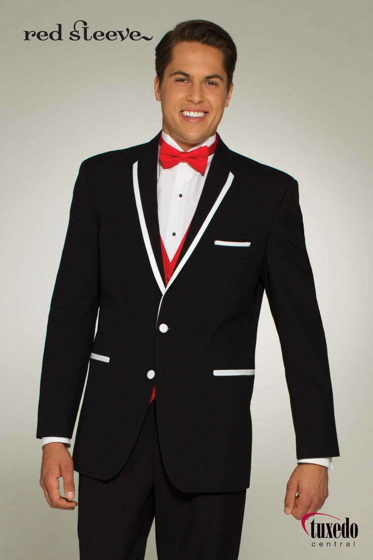 Asheville Tuxedo by Mitchell's - 'Charleston' -  Black with White trim - Slim Fit