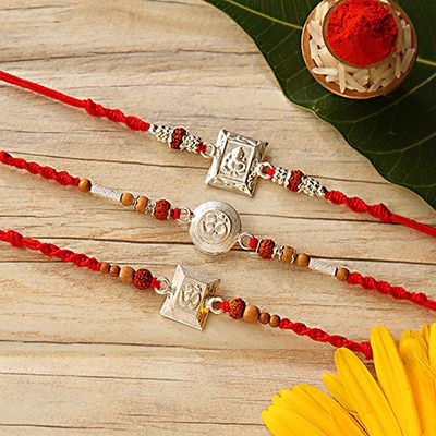 Set of 3 Auspicious Silver Rakhi
