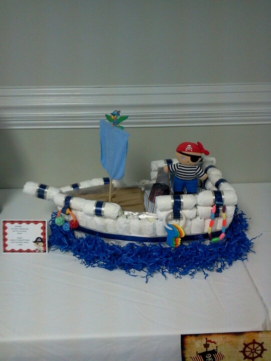 Diaper Pirate Ship Baby Diaper Cake Boy Baby Shower