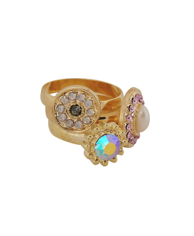 Iridescent Rhinestone Ring $4.80
