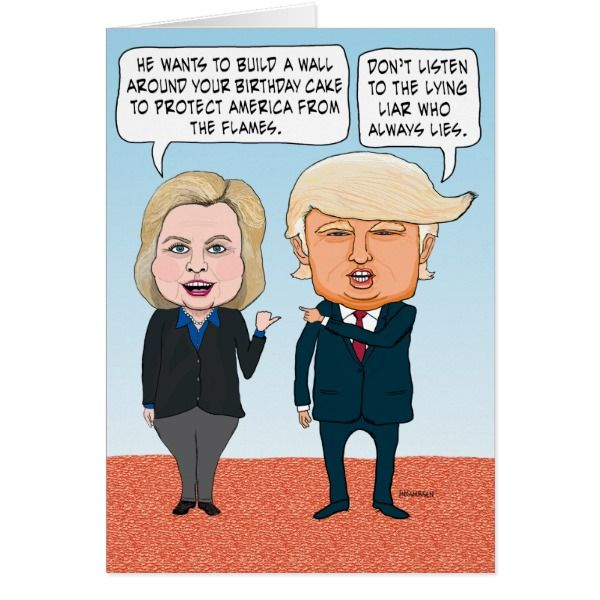 Funny Hillary Clinton and Donald Trump Birthday Card -  This funny and timely birthday card features presidential candidates Hillary Clinton and Donald Trump having a spirited debate about a... #custom #USA Americana themed  #gift #card design by #chuckink - #card #hillaryclintonvs.donaldtrump #presidentialcandidates #humor #birthdaycake #flamingcandles #buildawall #clintonandtrumpcartoon #politicalhumor