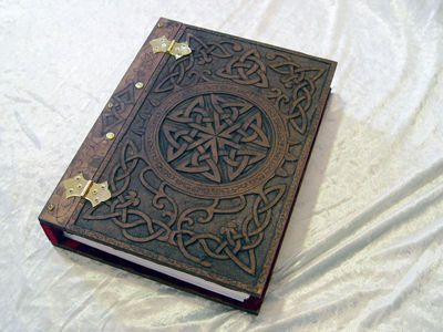 Celtic knotwork book cover, maybe a book Finn writes everything about herbs in.