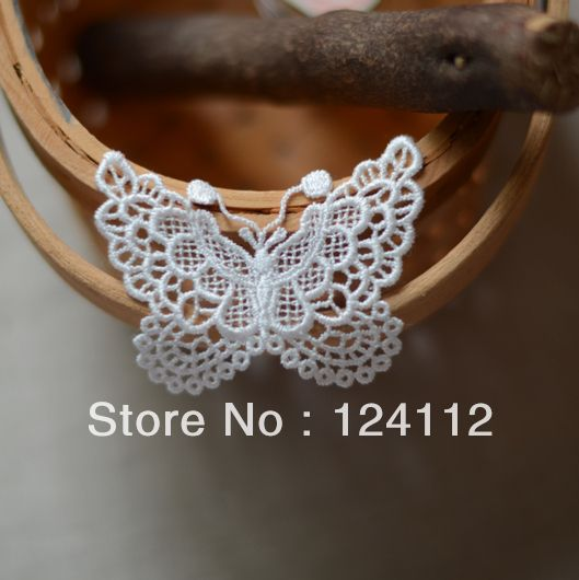 20 Pcs/Lot, 5.5cm* 6.5cm, Free Shipping LA023 Cheap Handmade DIY  Water Soluble Lace White Butterfly Embroidery Appliques $11.90