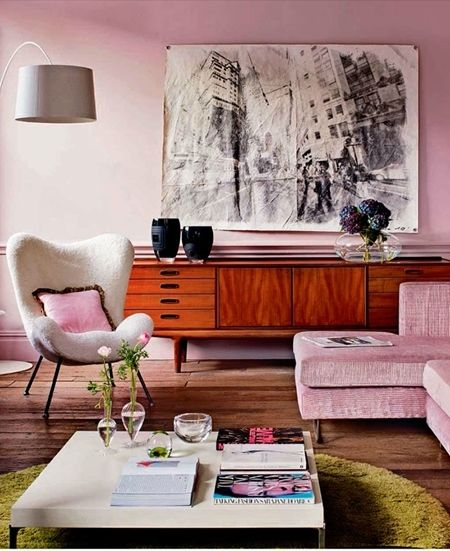 dressing color palate: Interior Design, Decor, Living Rooms, Idea, Color, Livingroom, Mid Century, Pink Room, Midcentury