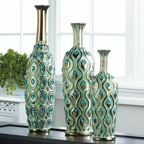 Tall Peacock Jewel Vase