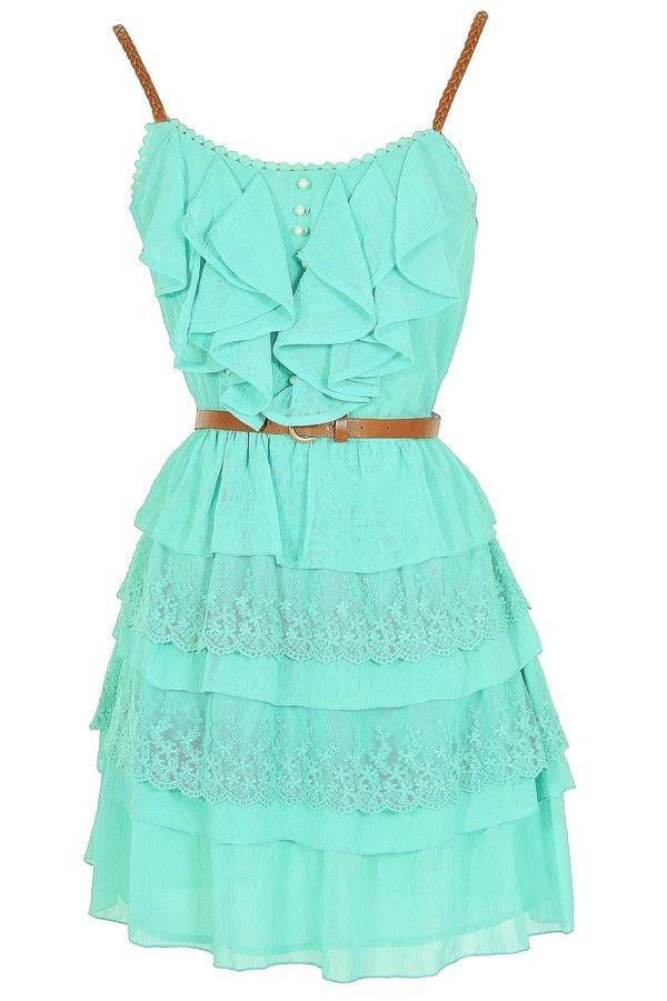 Nashville Nostalgia Belted Ruffle Dress in Mint www.lilyboutique.com