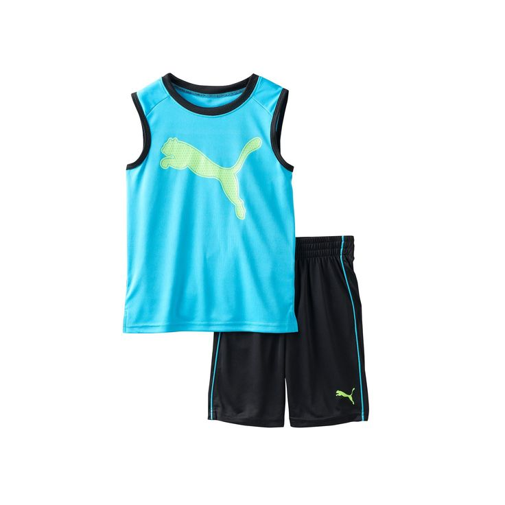 Boys 4-7 PUMA Graphic Performance Tank Top & Shorts Set, Boy's, Size: 6, Black