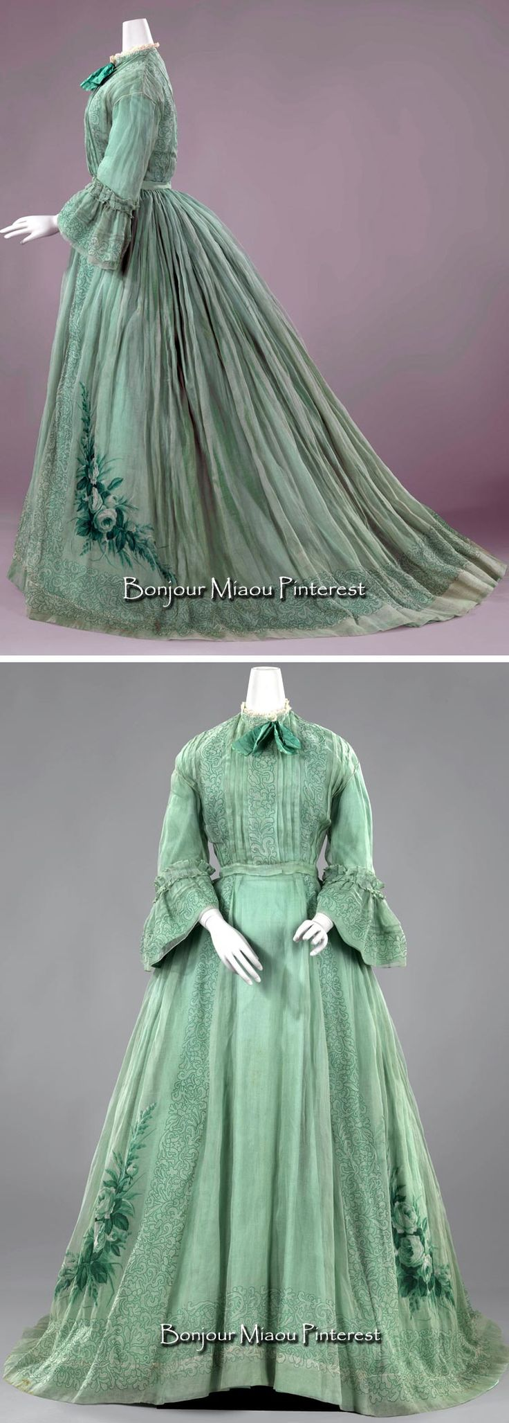 Day dress, the Netherlands, ca. 1863–66. Gown of pale green translucent woven cotton (muslin) (?). Three pieces (bodice, skirt, green silk bow). Rijksmuseum and Europeana Fashion blog