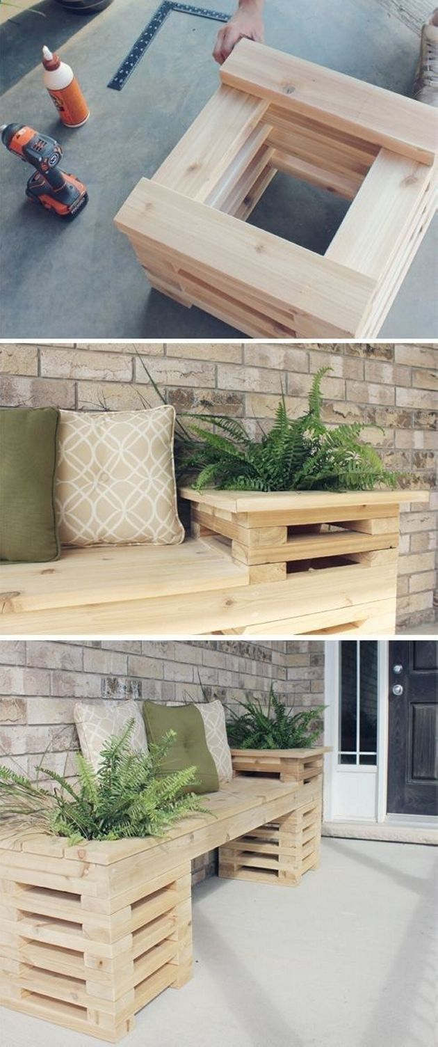Using pallet wood we can make a perfect pallet bench. Make the end of the bench in form of pallet cases in which plant can be placed easily. Doing this will allow you to enjoy your garden or plant collection on your bench. Put some cushions on the bench.