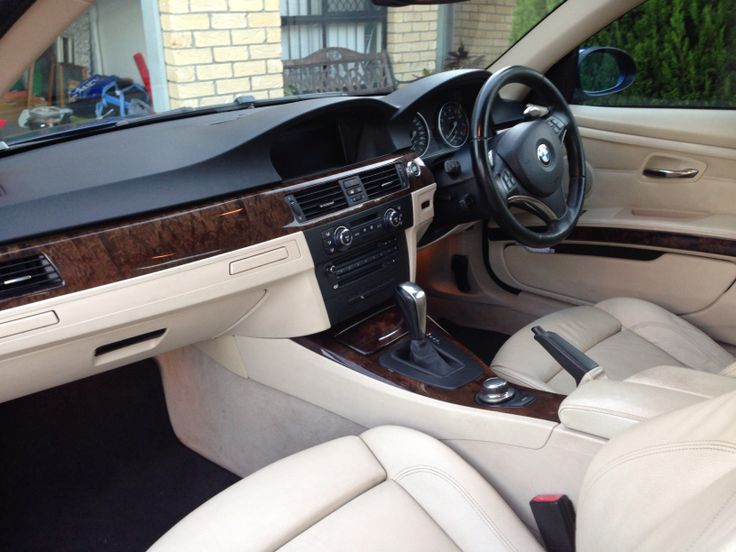 Inside BMW 335i coupe beige