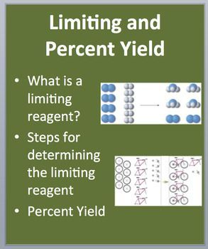 Limiting and Excess Reagents - A Chemistry PowerPoint Lesson  In order, the lesson covers: - What is a limiting reagent? - Steps for determining the limiting reagent  - Percent Yield