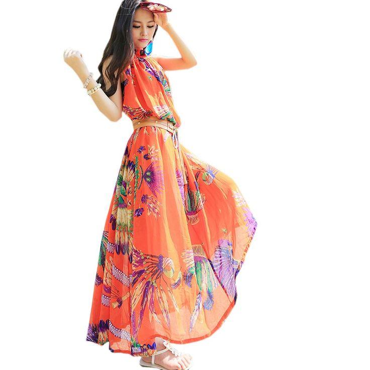 Orange maxi dresses uk
