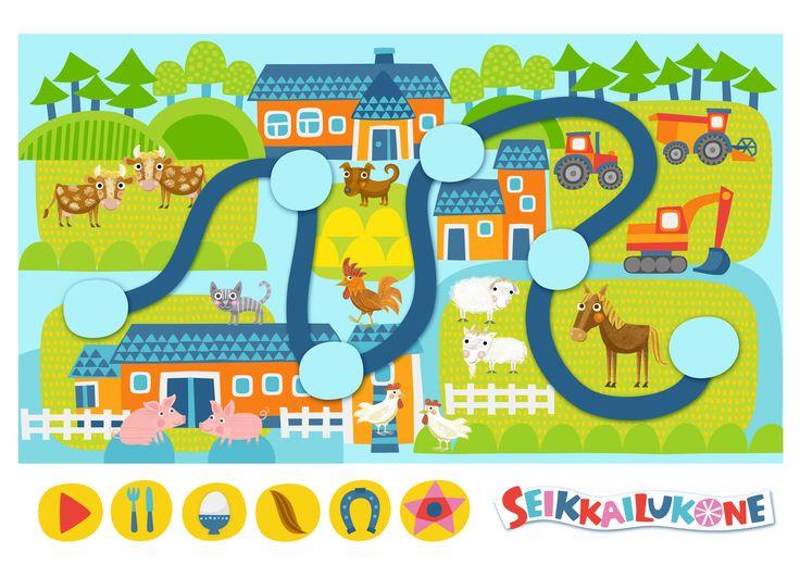 Seikkailukone   tulostettava   paperi   kartta   peli   tehtävä   maatila   lapset   game   map   farm   children   kids   free printable   Pikku Kakkonen