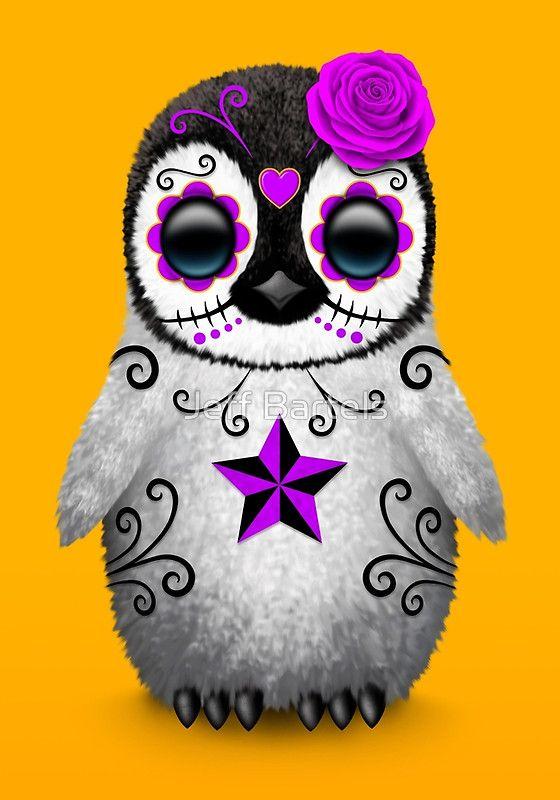 Purple Day of the Dead Sugar Skull Penguin   Jeff Bartels