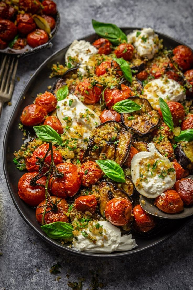 Grilled Eggplant, Roasted Tomatoes and Burrata Cheese with Garlic Herb Breadcrumbs