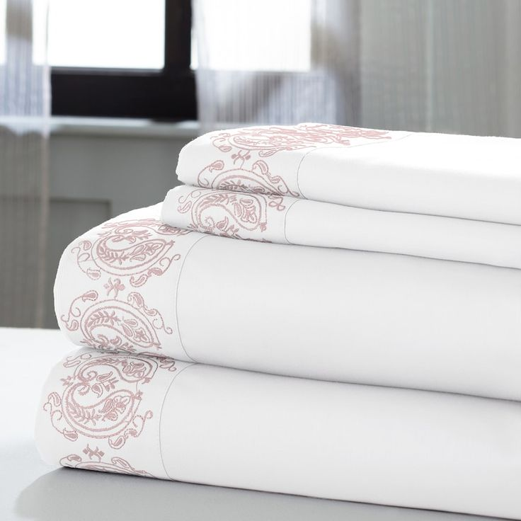 Symphony 1000 Thread Count Paisley Hem Sheet Set King Size Sheets Sheet Sets Cotton Sheet Sets