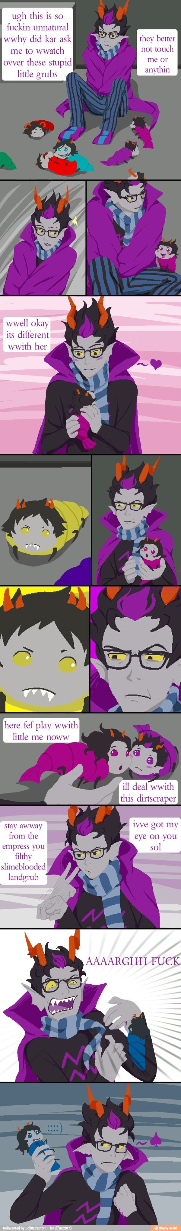 I love how little Vrisky bites him!!!! and how sollux looks evilly at him!!!!! <3 homestuck