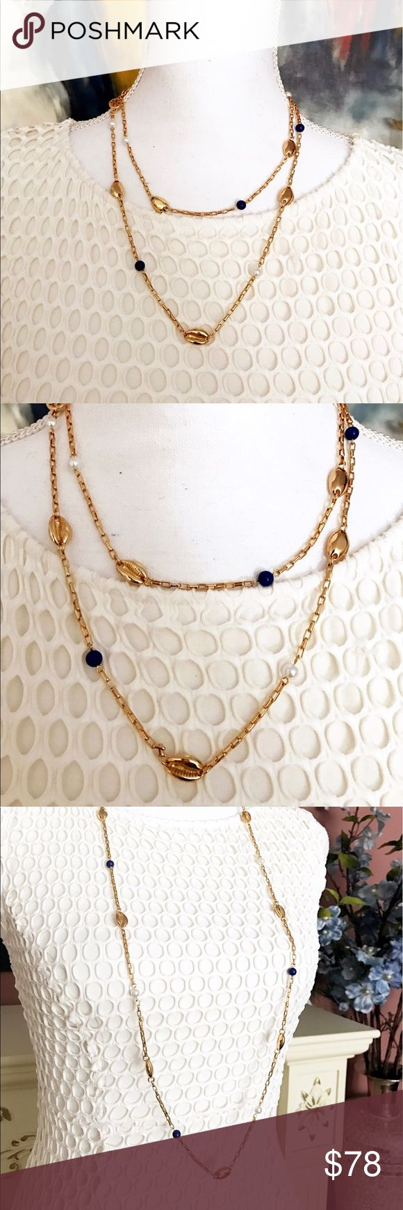 Tory burch gold shell pearl necklace $145 NEW